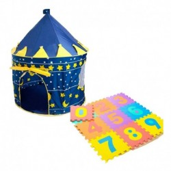 Combo Carpa Castillo Para Niño Azul + Tapete De Fomi (Entrega Inmediata)