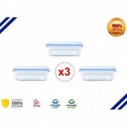 Refractaria Porta Comida Vidrio Templado Rectangular X3 Unid (Entrega Inmediata)