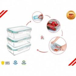 Set X3 Recipientes Hermetico Porta Comida Refractaria Vidrio (Entrega Inmediata)