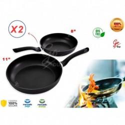Sartenes Antiadherentes De Cocina Mango Aislante X2 Unidades (Entrega Inmediata)