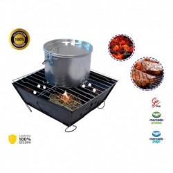 Asador De Carbon O Parrilla Portatil Carne Con Base (Entrega Inmediata)