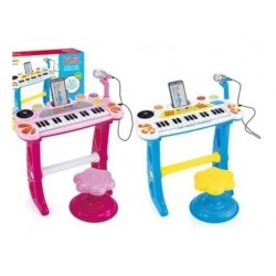 Organeta Piano De Mesa Para Niñas Rosada Con Silla (Entrega Inmediata)