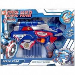 Pistola De Dardos Capitán América Ensamblable (Entrega Inmediata)