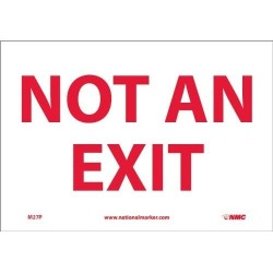 Nmc M27p Safety Sign, Not An Exit, 10 Width X 7 Height, Pres
