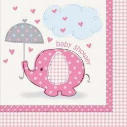 Paraguas Elefante Niña Baby Shower Servilletas De Tamaño G