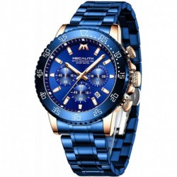 Reloj 8218 MEGALITH Hombre with Stainless Steel Waterproof Analog Quartz Fashion Business Chronograph for Hombre, Auto Date