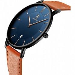 Reloj L6628-OrangeBlue-P , Hombre Minimalist Fashion Simple Wrist Analog Date with Leather Strap Orange Blue