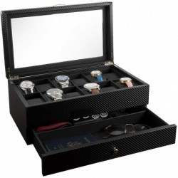 Gafas Box- Display Case & Organizer For Hombre First-Class Jewelry Holder 12 Slots Valet Drawer, Rings, Phone Sleek Black Color, Glass Top,