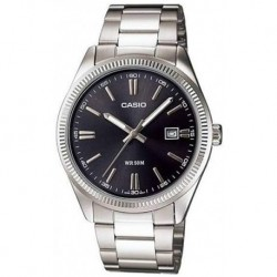 Reloj Casio MTP1302D-1A1V Hombre Classic Stainless Steel Date Black Dial Analog