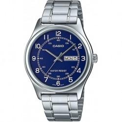 Reloj Casio MTP-V006D-1B2 MTP-V006D-2B Hombre Stainless Steel Easy Reader Blue Dial Day Date Analog Dress