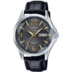 Reloj Casio MTP-E120LY-1AVDF (A1559) MTP-E120LY-1AV Hombre Leather Band Faceted Crystal Black Dial Day Date Dress