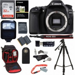 Cámara Digital Canon Combo EOS 80D SLR Body 32GB Memory Card