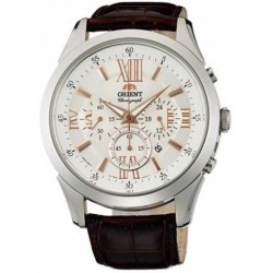 Reloj ORIENT FTW04008W0 Hombre Brown Leather Band Stee (Importación USA)