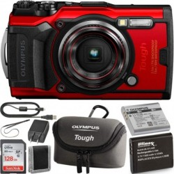 Camara Olympus Tough TG-6 Digital Camera Red wi 1 (Importación USA)