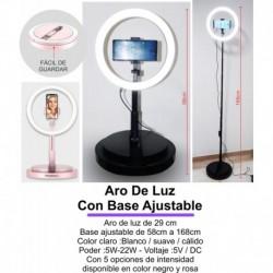 Aro De Luz De 29cm Con Base Plegable 3 Tipos De Luz, Control (Entrega Inmediata)